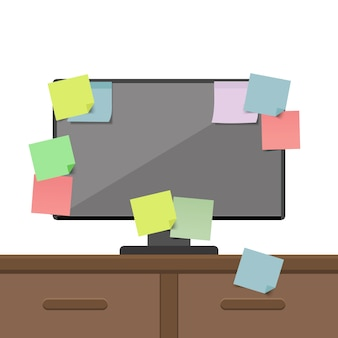 Computer voller haftnotizkarten. agenda, liste zu tun. illustration.