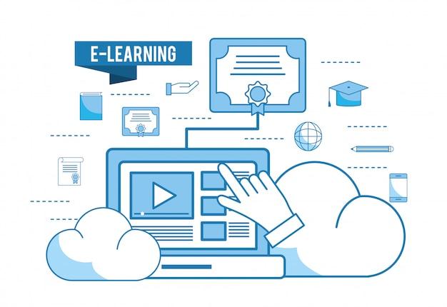 Computer-website-video mit diplom und bleistift