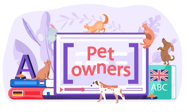 Computeranwendung für tierhalter, um kontakte zu knüpfen, informationen zu erhalten und fotos von katzen und hunden oder anderen tieren zu teilen.