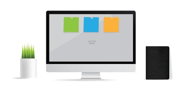 Computeranzeigehintergrund mit leerem bildschirmbereich und papierstock. vektor-illustration.