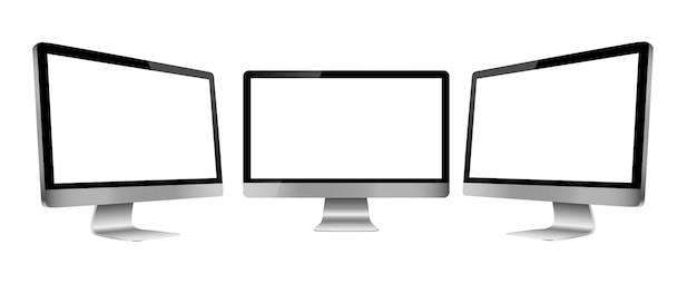 Computerbildschirm in drei ansichten der vorderseite und zwei seiten getrennt auf weiß