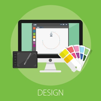 Computerbildschirm mit kunstdesign & zeichnung