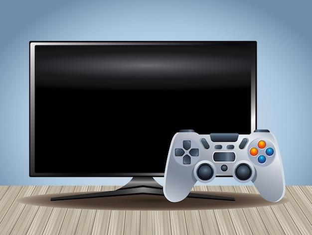 Computerbildschirm mit videospielsteuerung
