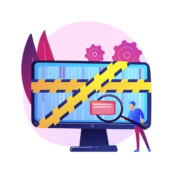 Computerforensik. digitale beweisanalyse, untersuchung von cyberkriminalität, datenwiederherstellung. cybersicherheitsexperte identifiziert betrügerische aktivitäten