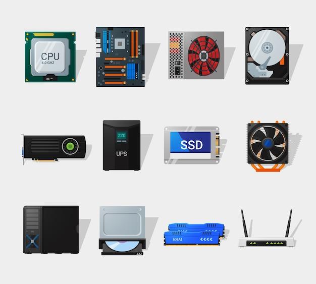 Computerhardware im flachen stil. detaillierter flacher stil. verschiedene computerteile. cpu, motherboard, festplatte, ssd und grafikkarte.