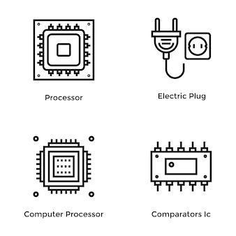 Computerhardware linie vektor icon pack