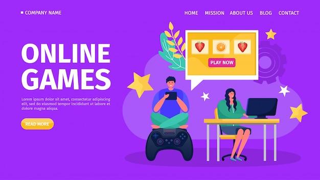 Computerkonsole online-spiel, illustration. spielen sie mit dem controller-joystick-technologiekonzept und dem charakter der spieler.