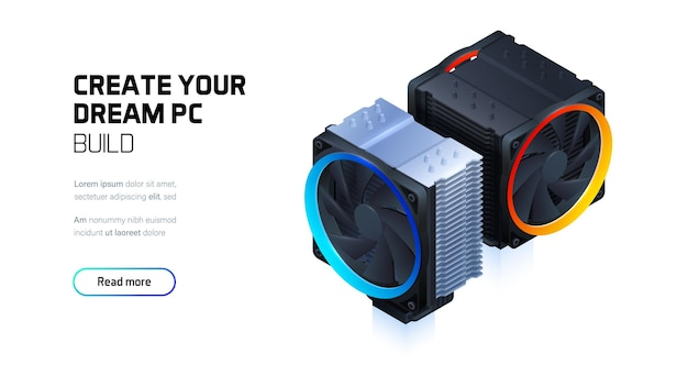 Computerluftkühlung mit led-farbbeleuchtung für cpu-prozessor.