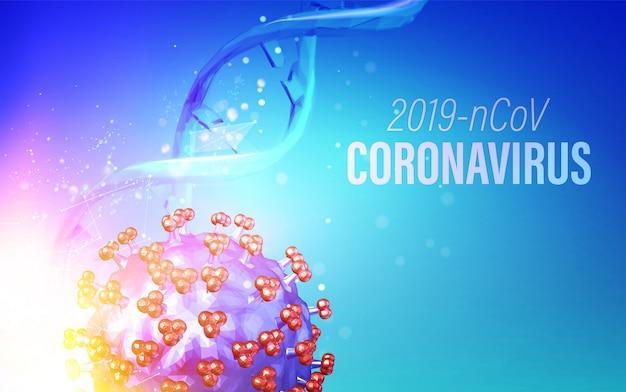 Computermodell des coronavirus in futuristischen strahlen über violettem hintergrund und dna-molekül. 3d-modell des virus 19-ncov.
