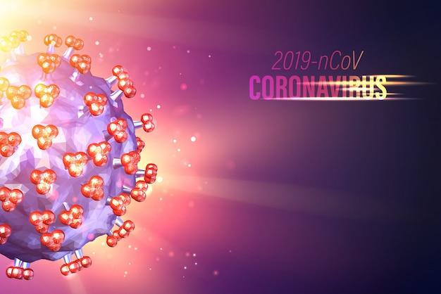 Computermodell von coronavirus-bakterien in futuristischen strahlen über violettem hintergrund und strömungspartikeln. grippeähnliche krankheit.