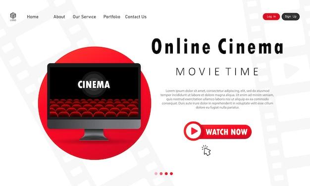 Computermonitor mit kinosaal. online-kino-illustration. filmzeit. vektor-eps 10. getrennt auf weißem hintergrund.