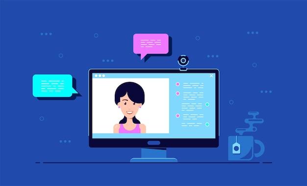 Computermonitor mit online-konferenzanwendungsoberfläche, webkamera und frauenporträt, flacher stil