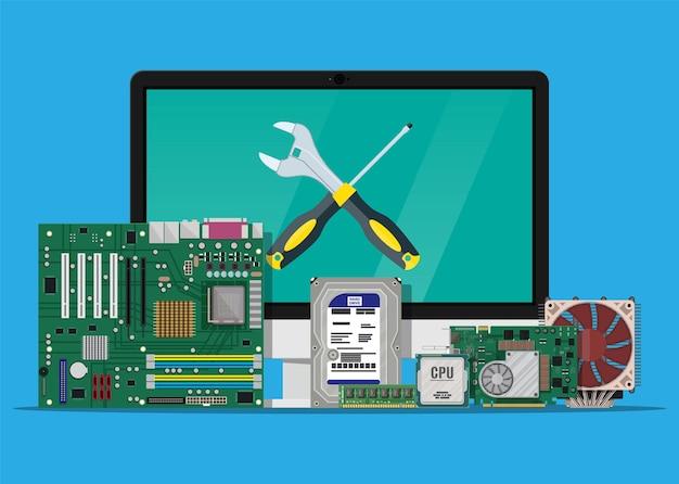 Computermonitor, motherboard, festplatte, cpu, lüfter, grafikkarte, speicher, schraubendreher und schraubenschlüssel.