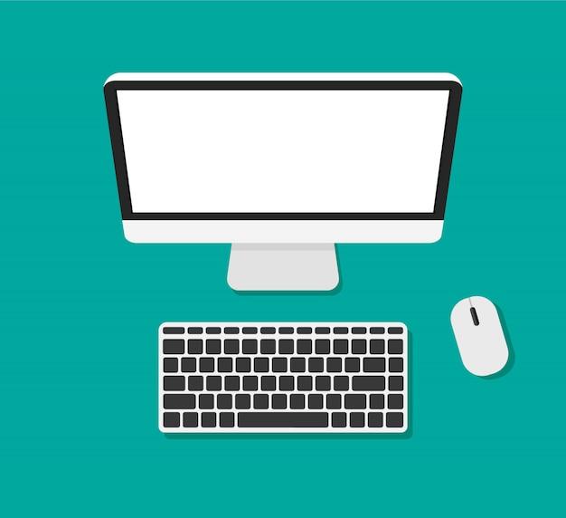 Computermonitor und tastatur draufsicht. leerer oder leerer bildschirm.