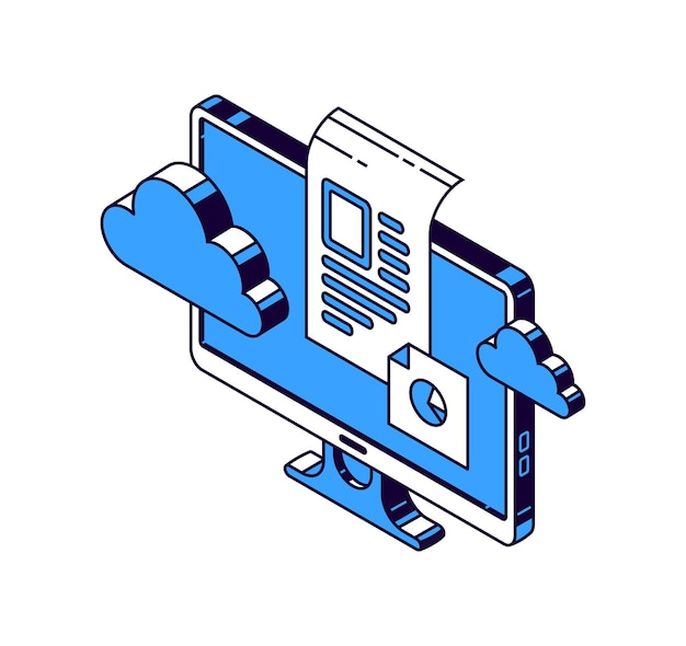 Computermonitor, virtuelle wolke und dokumente mit informationen, isometrische vektorsymbole