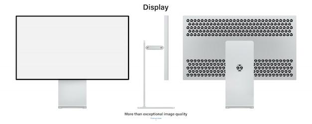 Computermonitormodell mit leerem bildschirm auf weißem hintergrund. lager illustration