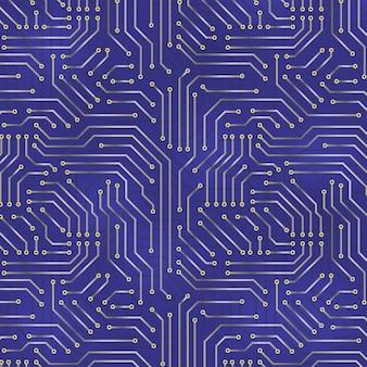 Computermotherboardhintergrund mit elektronischen elementen der leiterplatte.