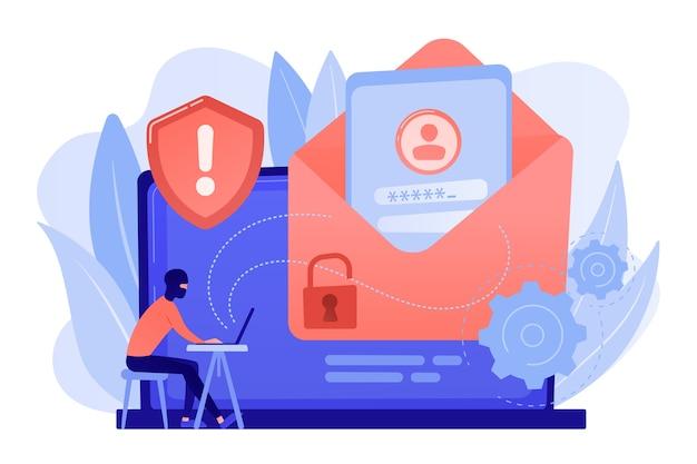 Computerpiraten-hacker erstellen software, die einen computer, server oder ein computernetzwerk beschädigen soll. malware, computervirus, spyware-konzept