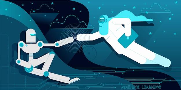 Computerprogrammierer als der schöpfer des roboters adam.