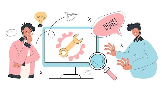 Computerreparatur abstraktes illustrationsgestaltungselementkonzept
