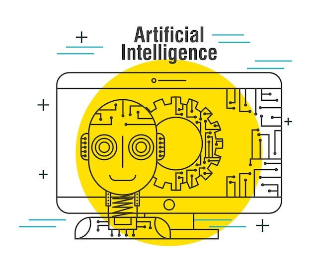 Computerroboter-gangnetz der künstlichen intelligenz