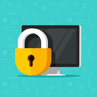 Computersicherheitsschloss oder datenschutz und private gesicherte zugangsdaten