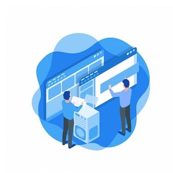 Computersoftware-entwicklungs-isometrische illustration