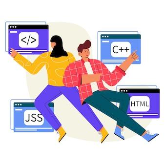 Computersprache flache illustration