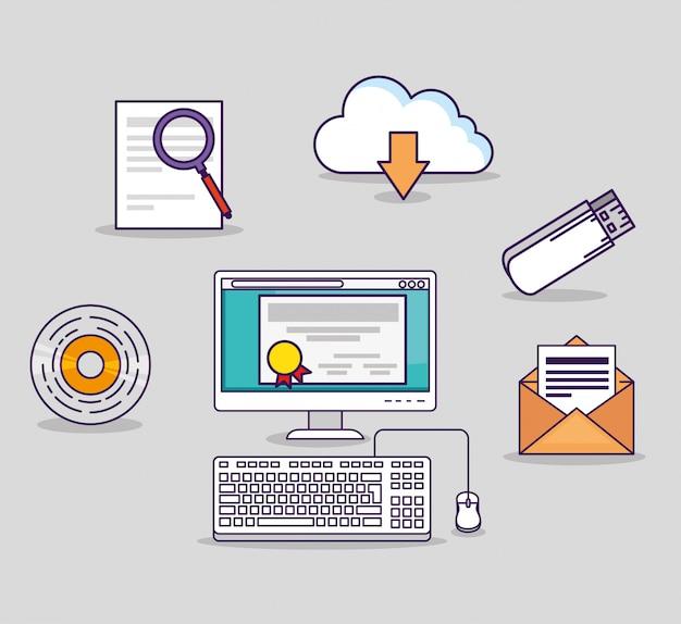 Computertechnologie mit usb- und zertifikatdiplom