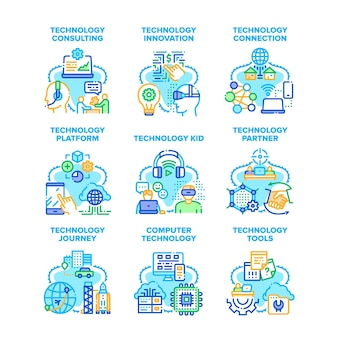 Computertechnologie set icons vektor illustrationen