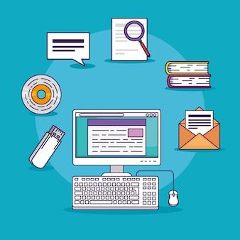 Computertechnologiedokument mit büchern und usb-speicher