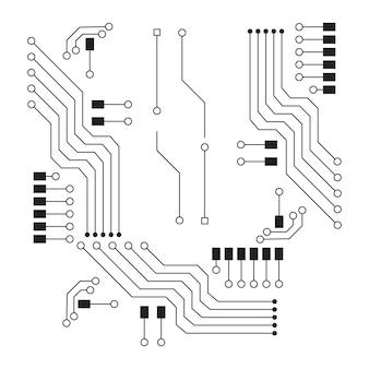 Computervektorhintergrund mit elektronischen elementen der leiterplatte