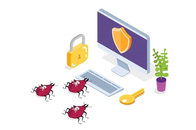 Computervirus, isometrisches datenschutzkonzept, netzwerkdaten, internetsicherheit, sichere banküberweisung.