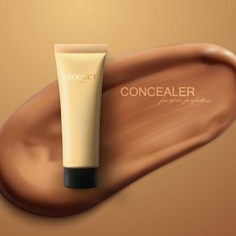 Concealer-creme-paket auf abstrichhintergrund