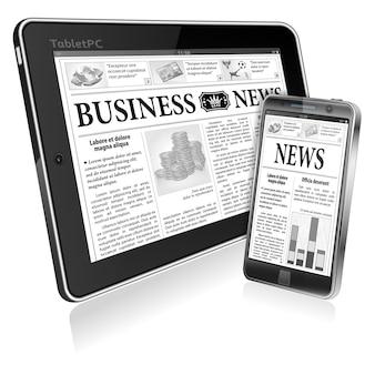 Concept - digitale nachrichten. tablet pc und smartphone mit wirtschaftsnachrichten