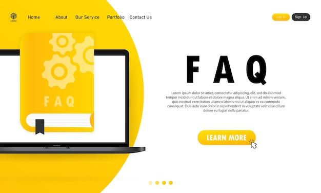 Concept user guide faq-buch für webseite, banner, social media. handbuch für benutzer. vektor-illustration