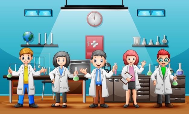 Concept world science day mit wissenschaftlern