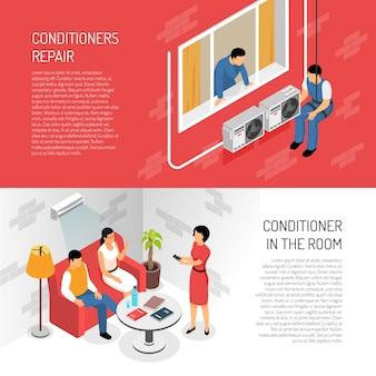 Conditioner-horizontale fahnen eingestellt