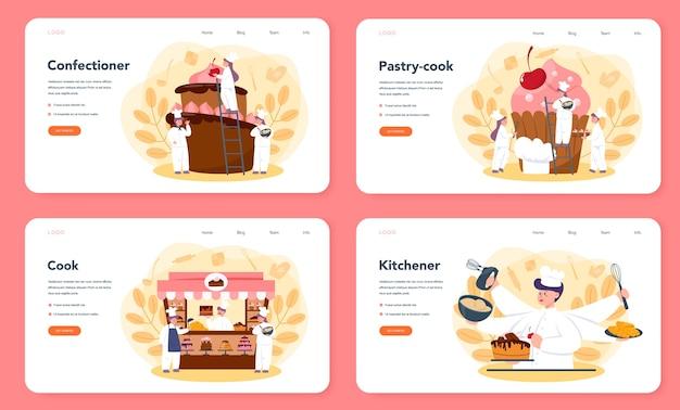 Confectioner web landing page set. professioneller konditor. süßer bäcker, der kuchen für urlaub, cupcake, schokoladenbrownie kocht. isolierte flache vektorillustration