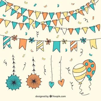 Confetti mit girlanden und luftballons