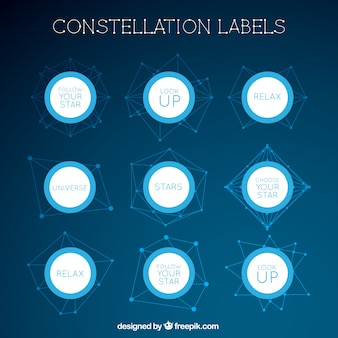 Constellations etiketten mit inspirierenden botschaften