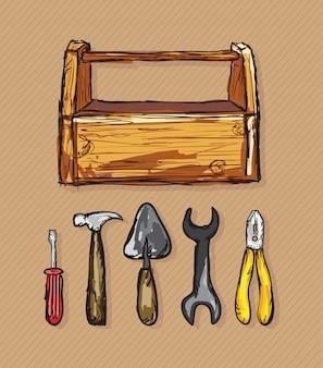 Construction icons toolbox (schraubendreher-spatelhammerzange)