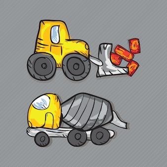 Construction icons trucks (betonmischer und baggerlader)