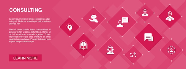 Consulting banner 10 icons konzept.experte, wissen, erfahrung, beratereinfache symbole