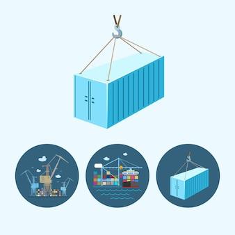 Container hängt am kranhaken. set mit 3 runden bunten symbolen, kränen mit container, kran entlädt container vom frachtcontainerschiff und container, die am kranhaken hängen, logistische symbole