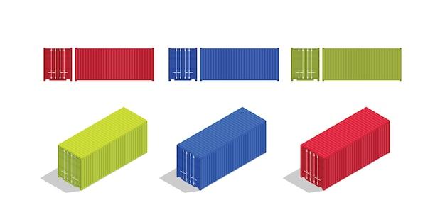 Container isometrisch und von vorne eingestellt