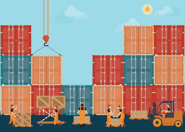 Container mit crain zu ladepaletten