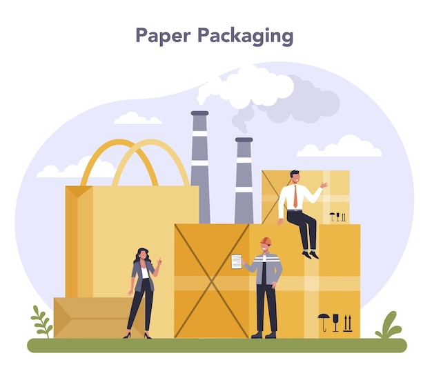 Container- und verpackungsindustrie. papierverpackungsmaterial.