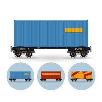 Containerplattform für den transport von containern auf der schiene. satz von drei runden bunten symbolen container-plattform, vektor-illustration