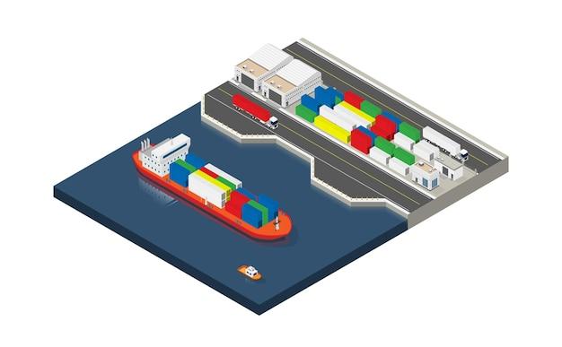 Containerschiff im export- und importgeschäft und in der logistik